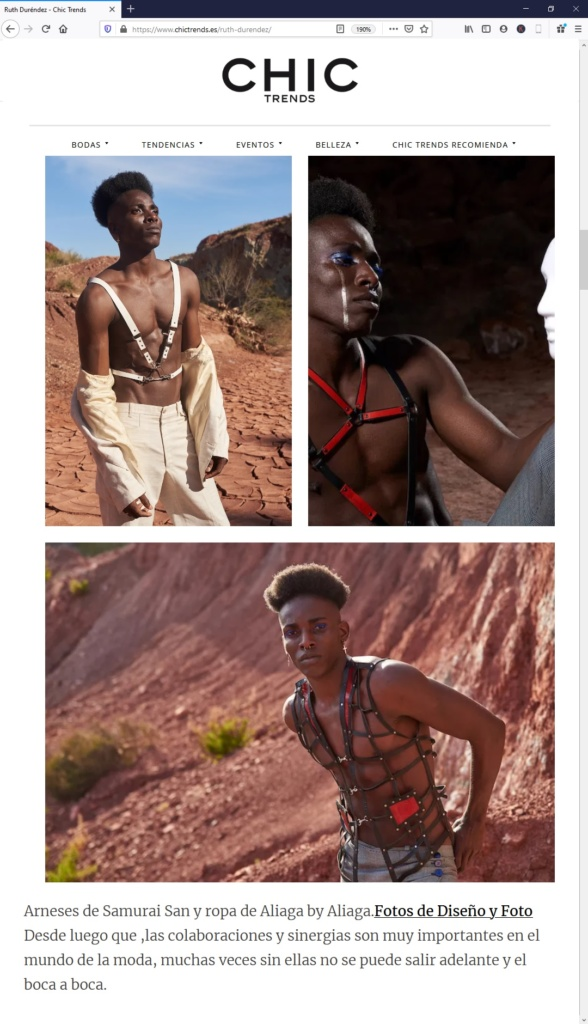 Chic Trends editorial con samurai san fashion harnesses y diseñoyfoto
